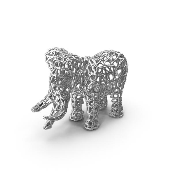 Silver Voronoi Elephant Sculpture PNG & PSD Images