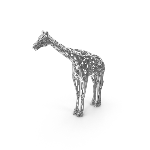 Animal Statue: Silver Voronoi Giraffe Sculpture PNG & PSD Images