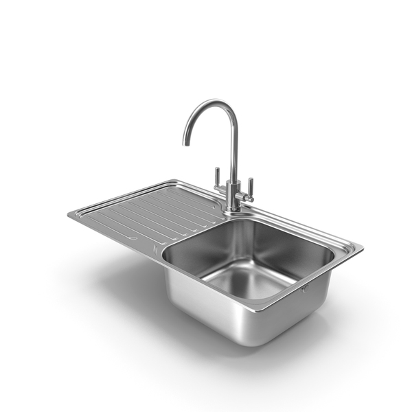 Faucet: Single Bowl Kitchen Sink with Drainboard and Tap PNG & PSD Images