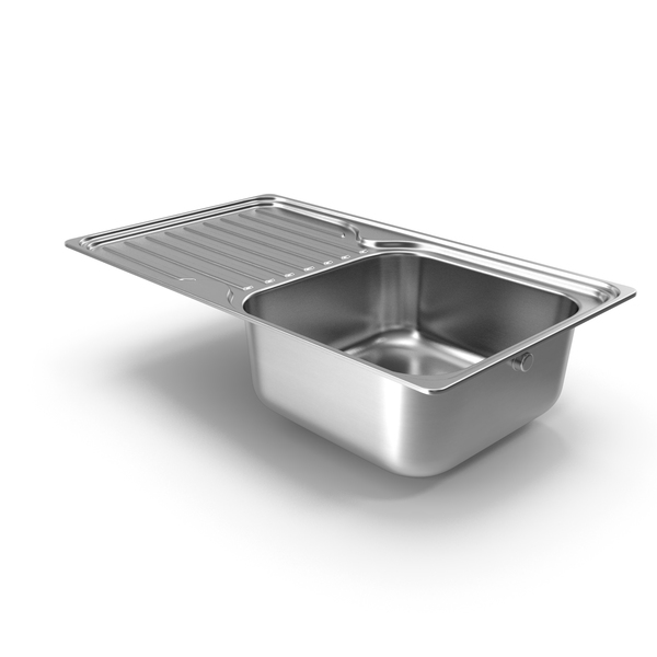 Faucet: Single Bowl Kitchen Sink with Drainboard PNG & PSD Images
