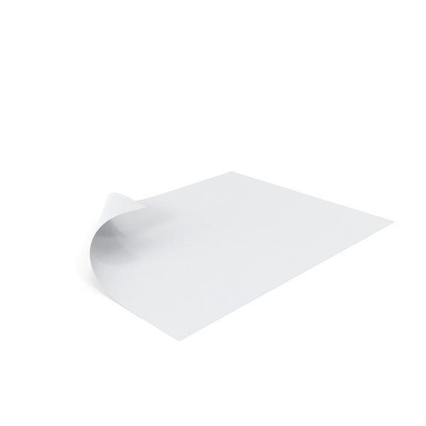Single Paper Sheet Curled Corner Object