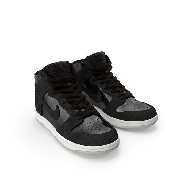 Top Sneakers: Skateboard Shoe Nike SB Dunk High Pro Black PNG & PSD Images