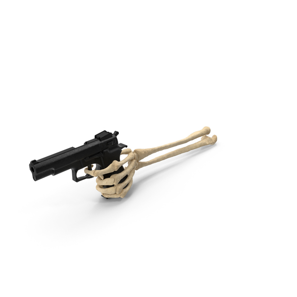 Semi Automatic Pistol: Skeleton Hand Holding a Gun PNG & PSD Images
