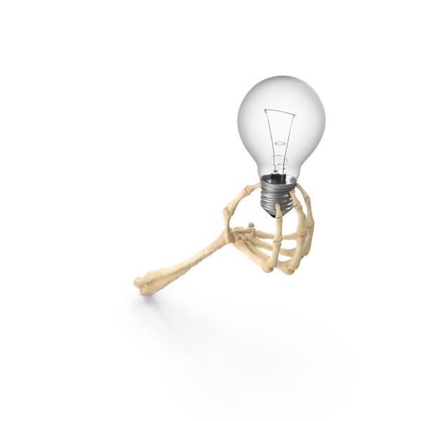Skeleton Hand Holding a Light Bulb PNG & PSD Images