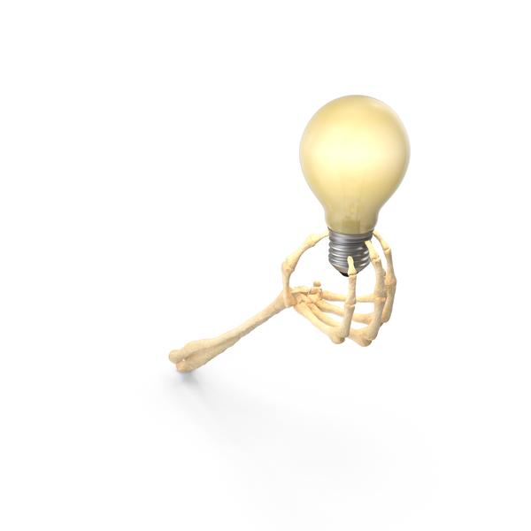Lightbulb: Skeleton Hand Holding a Light Bulb Turned On PNG & PSD Images