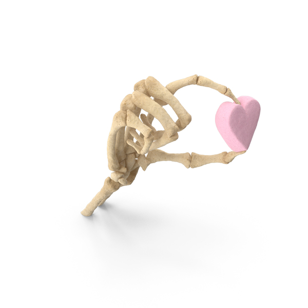 Skeleton Hand Holding a Marshmallow Heart PNG & PSD Images