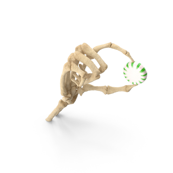 Skeleton Hand Holding a Starlight Peppermint Candy PNG & PSD Images