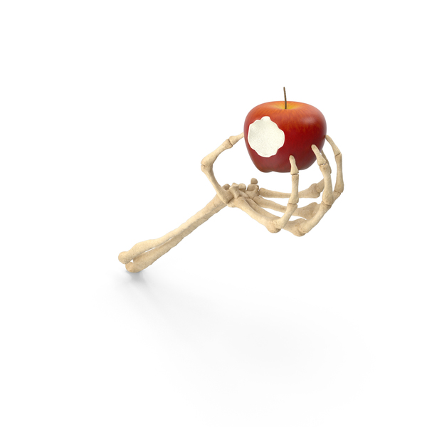 Skeleton Hand Holding an Apple with Bite PNG & PSD Images