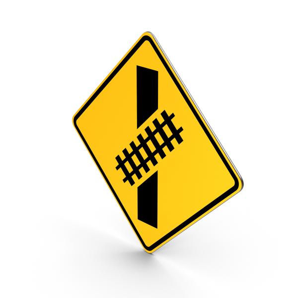Skewed Railroad Crossing Road Sign PNG & PSD Images