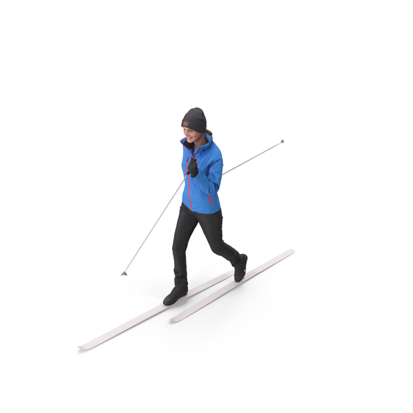 Ski Poles: Skier Woman Posed PNG & PSD Images