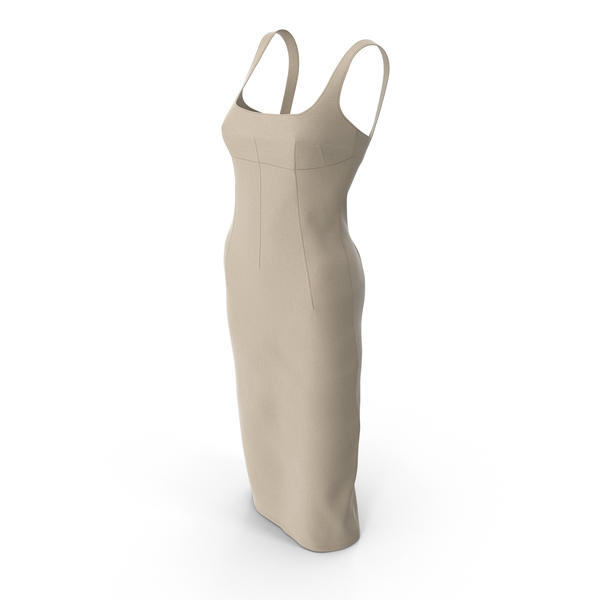 Sleeveless Long Beige Dress With Darts PNG & PSD Images