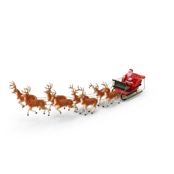 Sleigh with Reindeer PNG & PSD Images