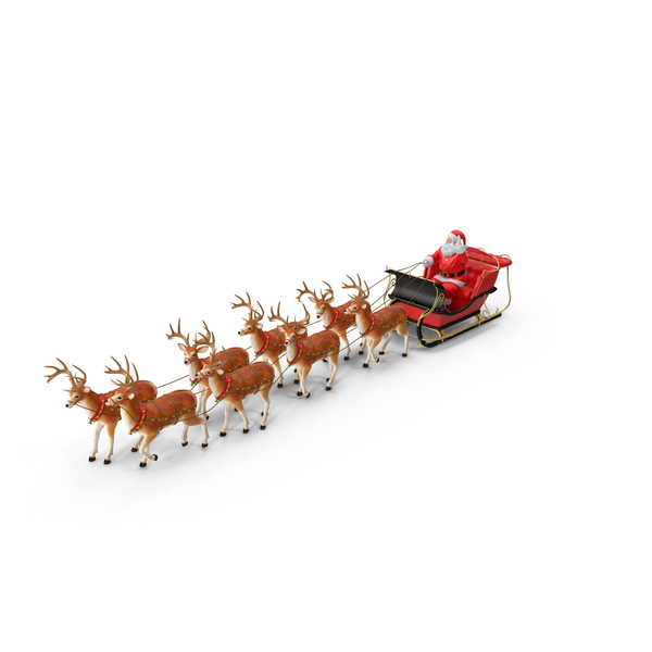 Christmas: Sleigh with Reindeer PNG & PSD Images