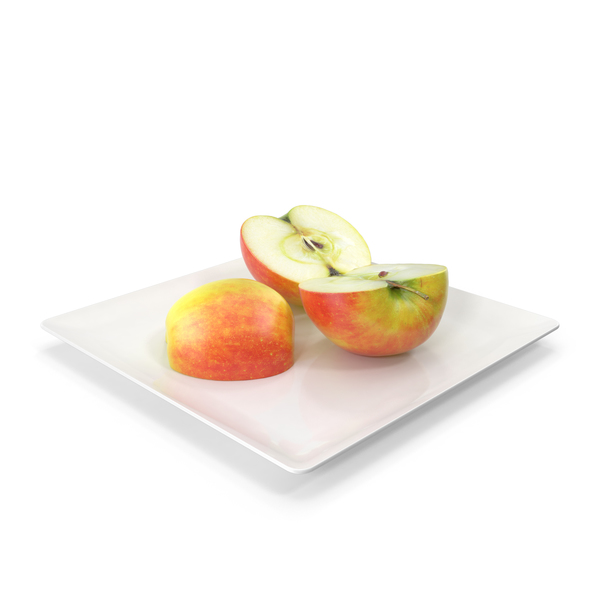 Sliced Apples on Plate PNG & PSD Images