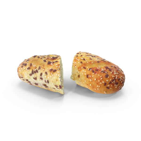 Sliced Bun with Sesame Seeds PNG & PSD Images
