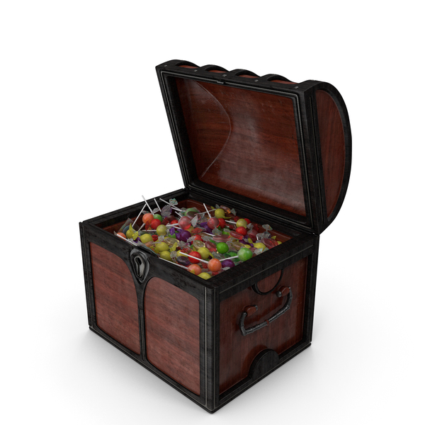 Small Chest with Mixed Wrapped Hard Candy PNG & PSD Images