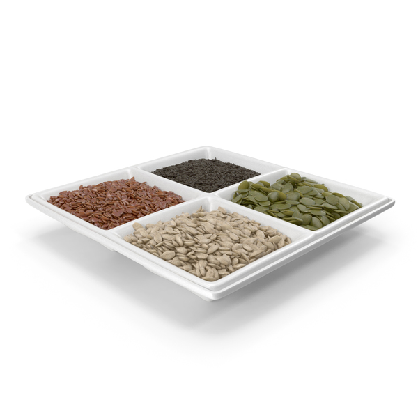 Small Compartment Bowl with Mixed Healthy Seeds PNG & PSD Images