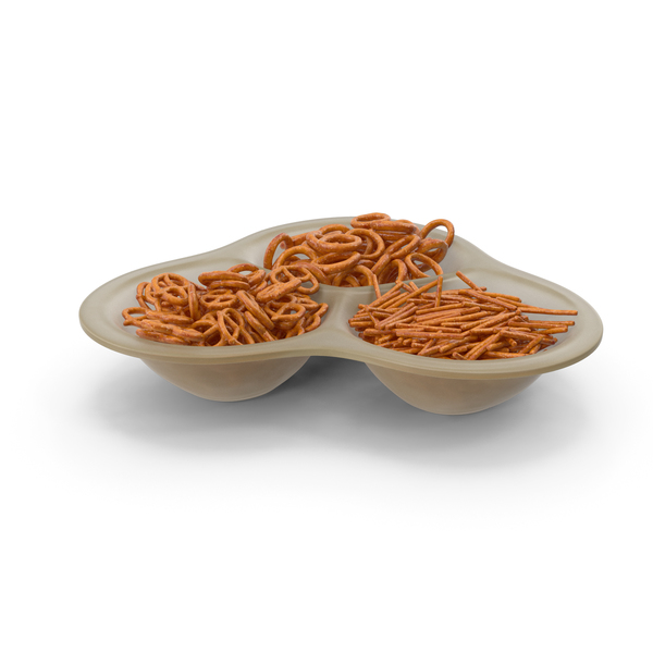 Small Compartment Bowl With Pretzels PNG & PSD Images