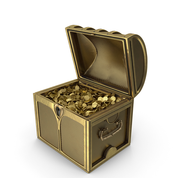 Small Golden Chest With Gold Coins PNG & PSD Images