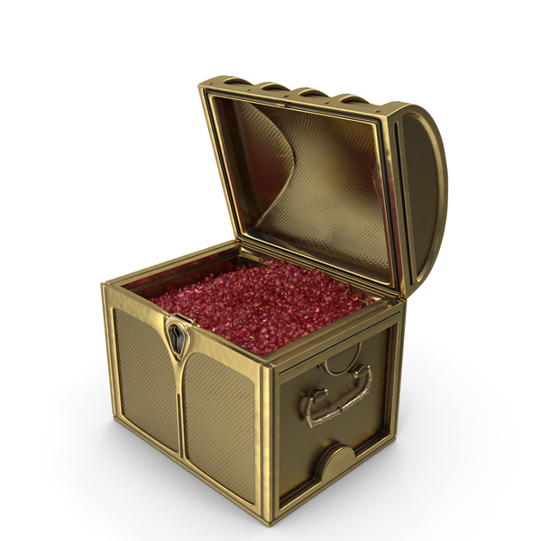 Small Golden Chest With Tiny Ruby Gems PNG & PSD Images