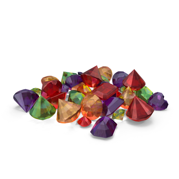 Small Mixed Gems Pile PNG & PSD Images