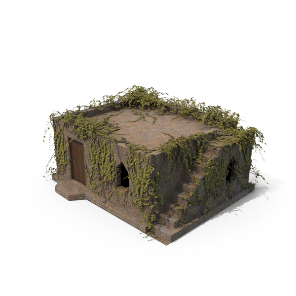 Small Old Stone House with Ivy PNG & PSD Images