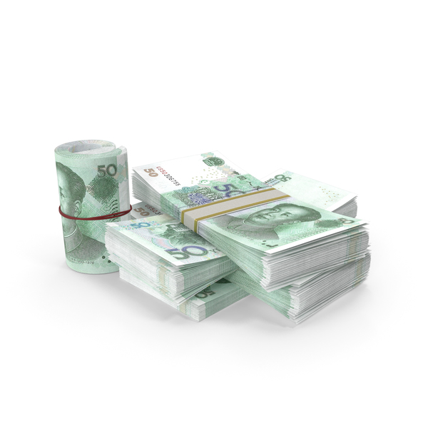 Banknote: Small Pile of Chinese Yuan Stacks PNG & PSD Images