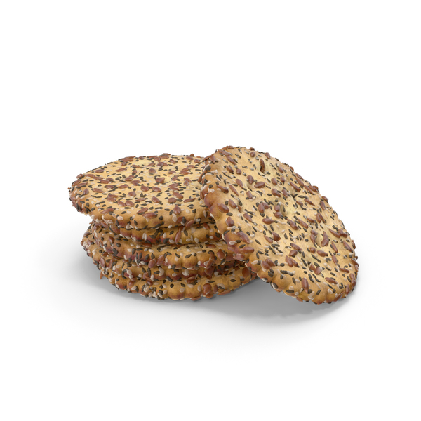 Small Pile of Circular Crackers with Seeds PNG & PSD Images