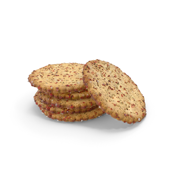 Small Pile of Circular Crackers With Spicy Seasoning PNG & PSD Images