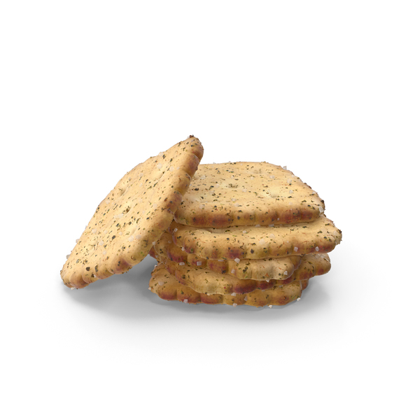 Small Pile of Mini Rhombus Crackers with Seasoning PNG & PSD Images