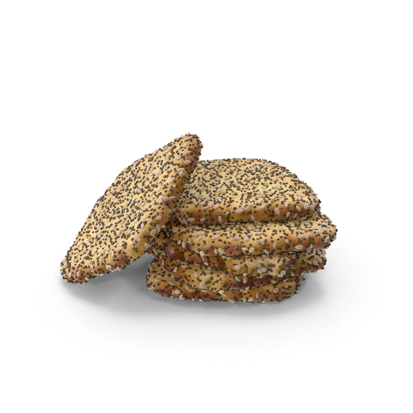 Small Pile of Mini Rhombus Crackers with Seeds PNG & PSD Images