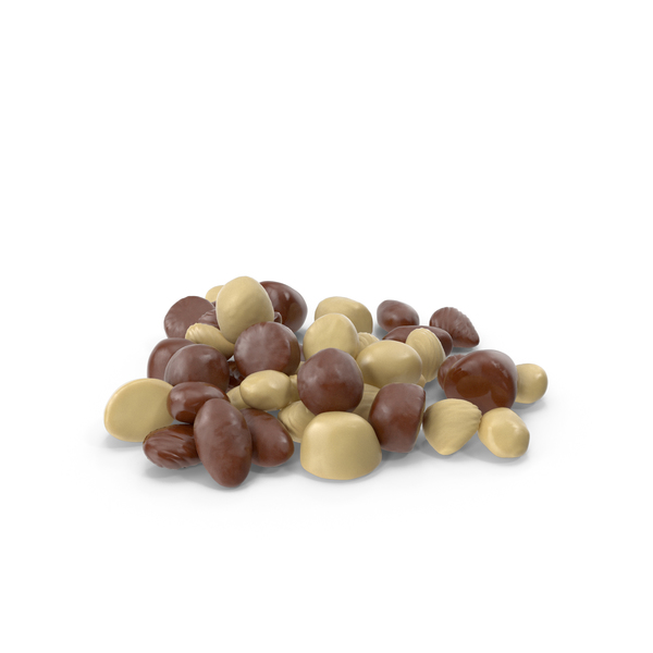 Small Pile of Mixed Almond Chocolate Candy PNG & PSD Images