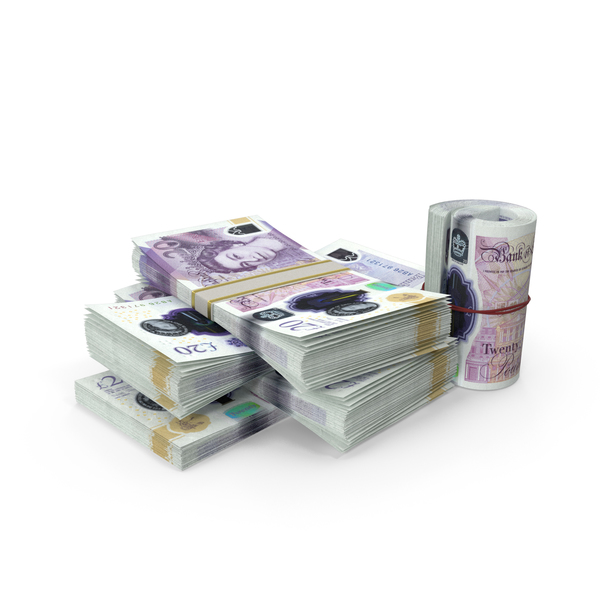 Banknote: Small Pile of Uk Pound Stacks PNG & PSD Images
