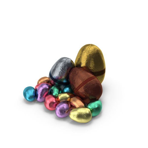 Small Pile of Wrapped Chocolate Easter Eggs PNG & PSD Images