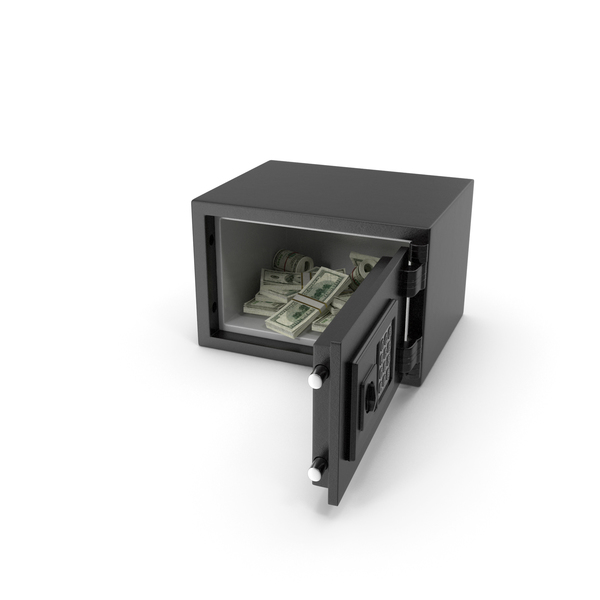 Small Safe with Dollar Stacks PNG & PSD Images