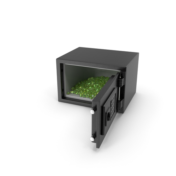 Bank Vault: Small Safe with Emerald Gems PNG & PSD Images