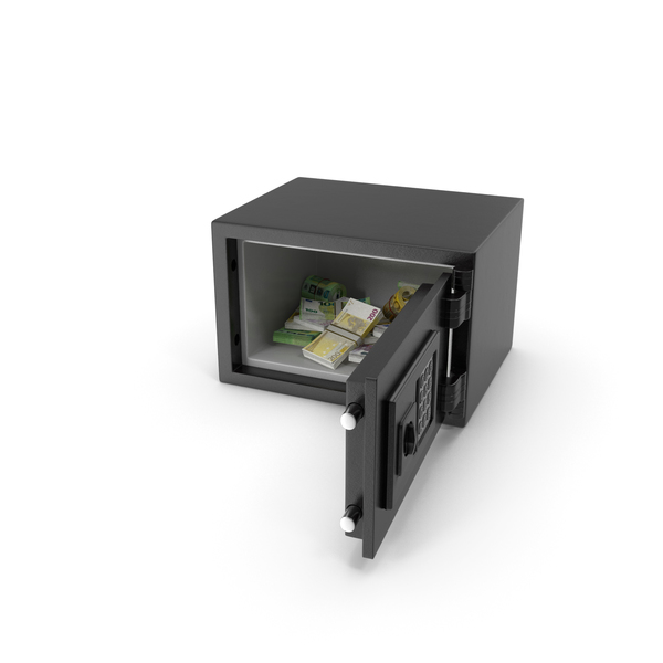 Small Safe with Euro Stacks PNG & PSD Images