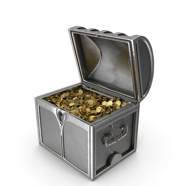 Small Silver Chest with Gold Coins PNG & PSD Images