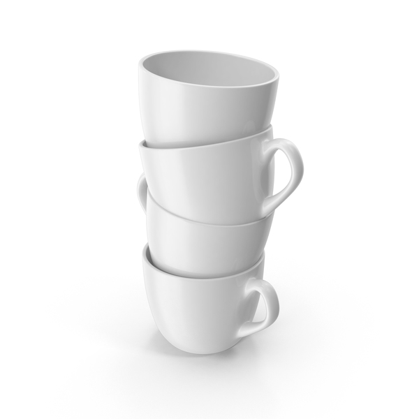 Coffee: Small White Cup Stack PNG & PSD Images