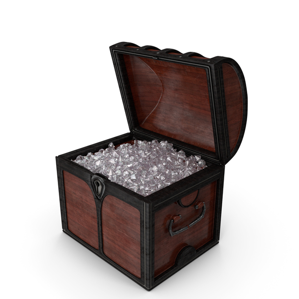 Small Wooden Chest With Crystal Gems PNG & PSD Images