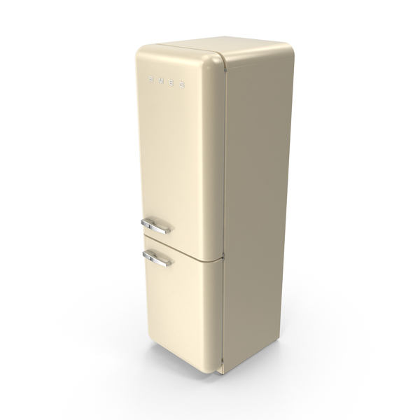 Smeg Brand Refrigerator in Cream PNG & PSD Images