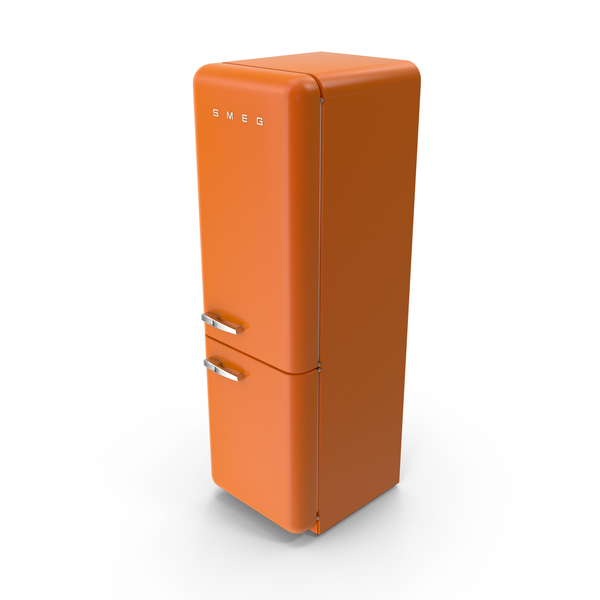 Smeg Orange Refrigerator PNG & PSD Images