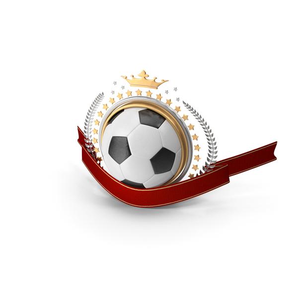 Soccer Laurel Emblem Banner PNG & PSD Images