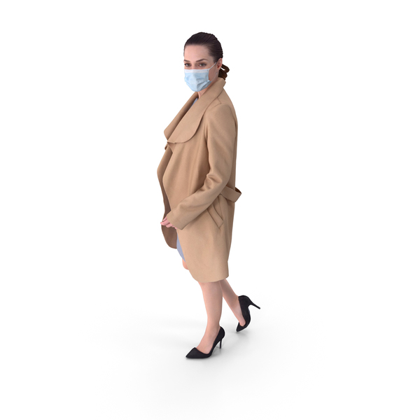 Social Distancing Masked Woman PNG & PSD Images