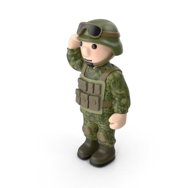 Cartoon Man: Soldier Saluting PNG & PSD Images