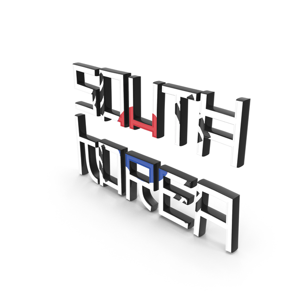 Language: South Korea Text with Flag PNG & PSD Images