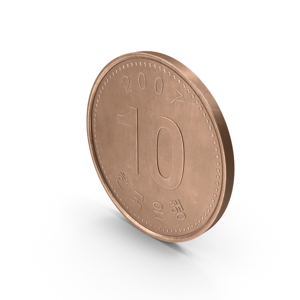 South Korean 10 Won Coin PNG & PSD Images