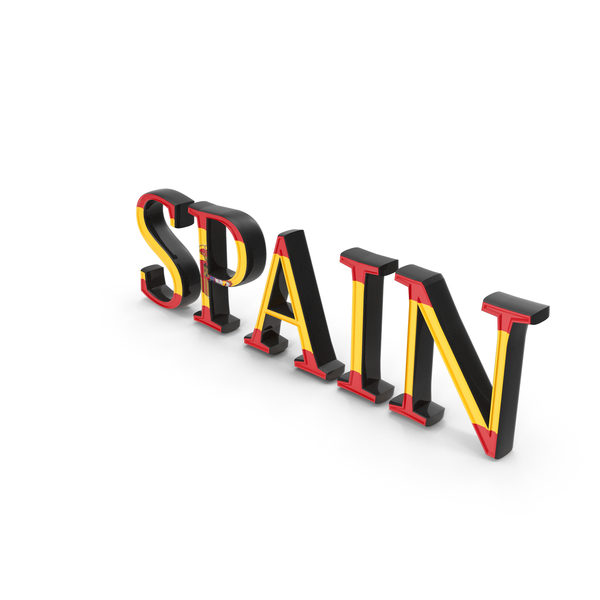 Language: Spain Text with Flag PNG & PSD Images