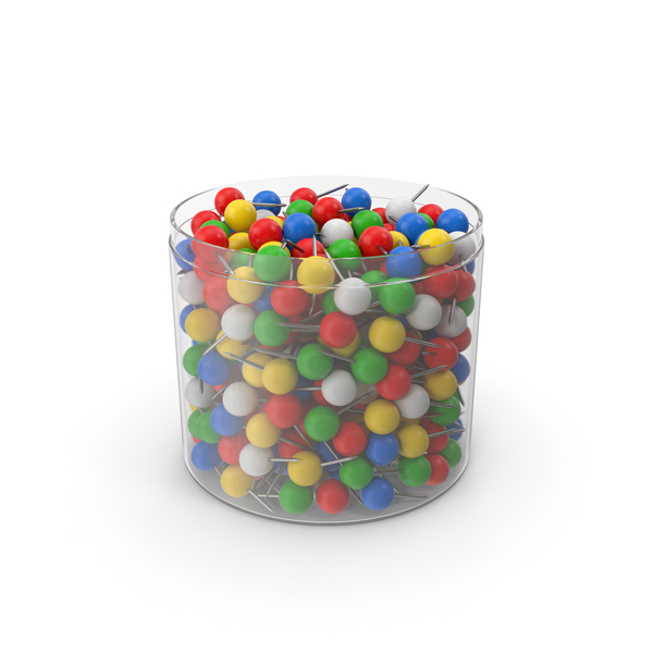 Office Supplies: Sphere Push Pins In Cup Opened PNG & PSD Images