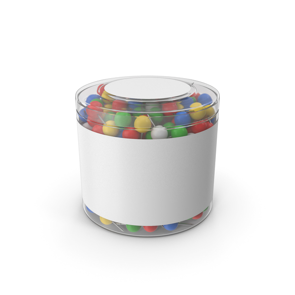 Office Supplies: Sphere Push Pins In Plastic Cup PNG & PSD Images